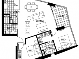 Two bedroom type E- Just floor plan